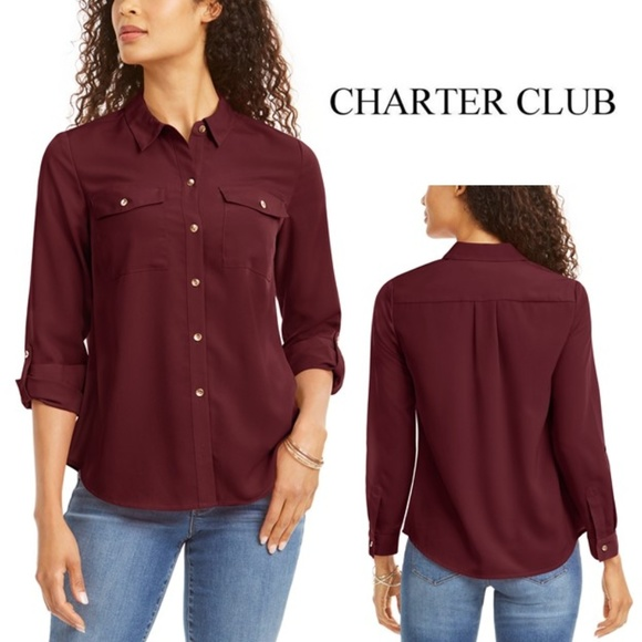 Charter Club Tops - Charter Club Petite Solid Button-Up Shirt